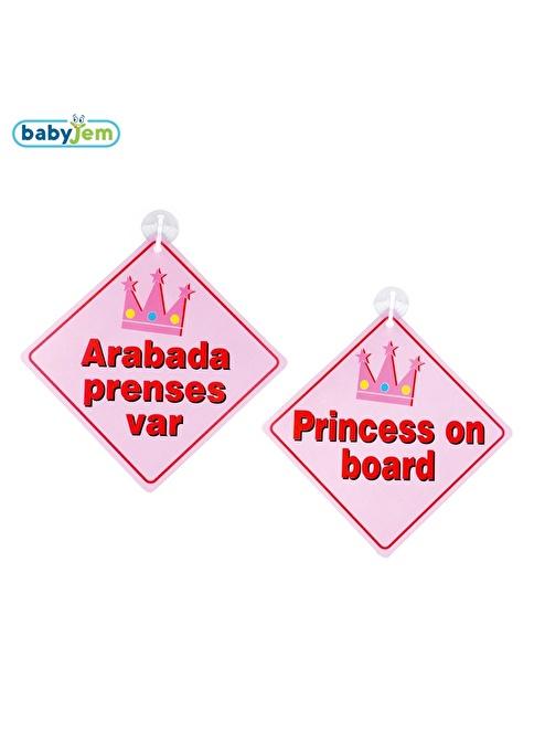 Baby Jem Babyjem Araba Cam Yazısı Dikkat Bebek Var Pembe